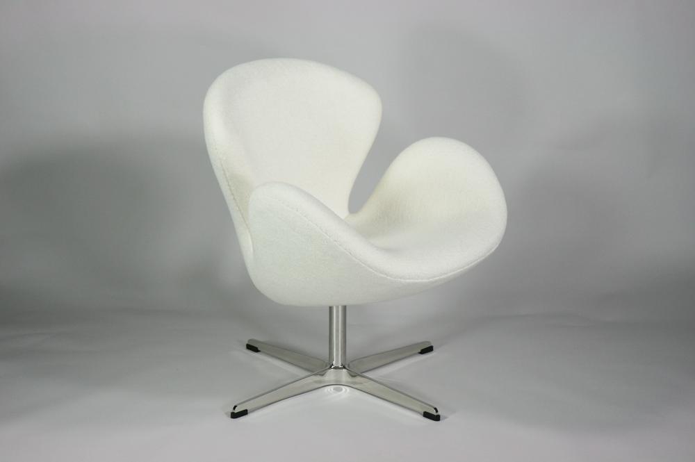 送料無料 新品 スワンチェア 北欧デザイン ファブリック WHITE ホワイト