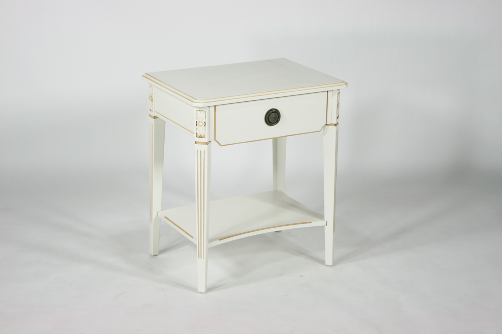 送料無料 新品 ホワイトロココ サイドテーブル 花台 6102 ホワイト