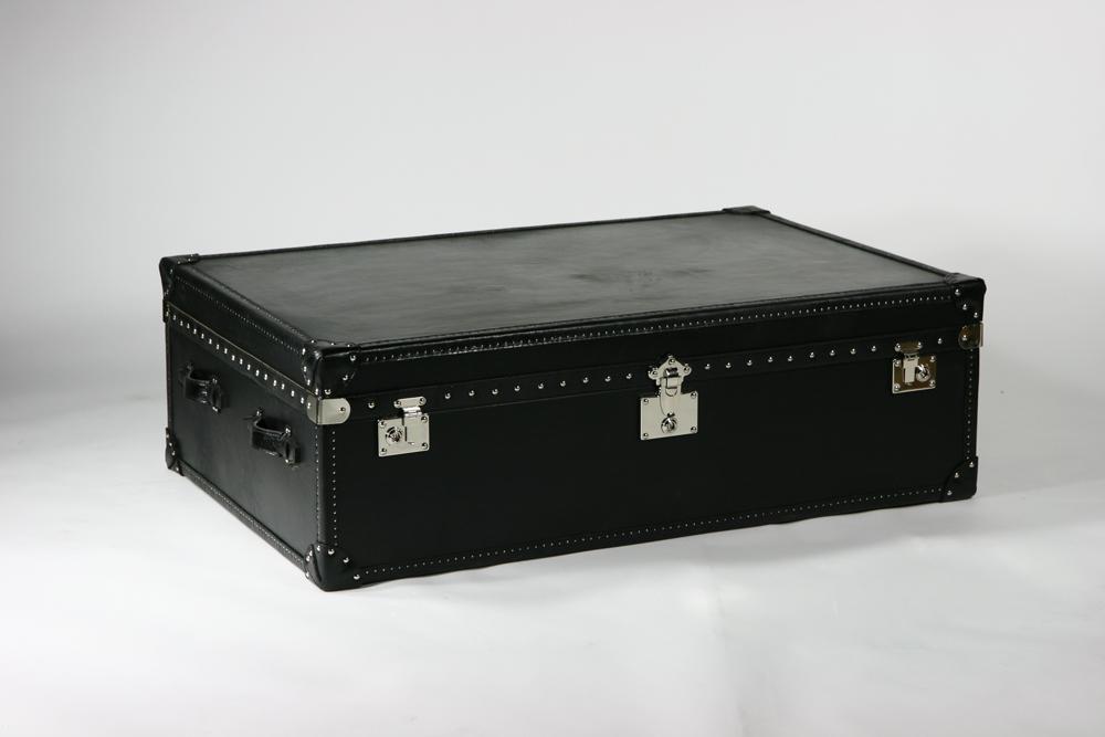 送料無料 新品 トランクコーヒーテーブル コーヒーテーブル レザー 本革使用 スツール ブラック B