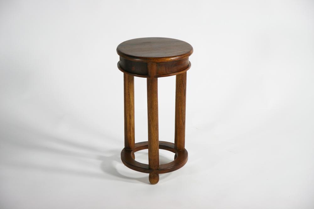 送料無料 新品 チーク無垢 ラウンド サイドテーブル 花台 チーク材 無垢材 チーク T-006-Sブラウン