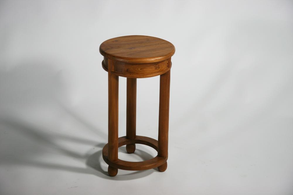 送料無料 新品 チーク無垢 ラウンド サイドテーブル 花台 チーク材 無垢材 チーク T-006-Sライトブラウン