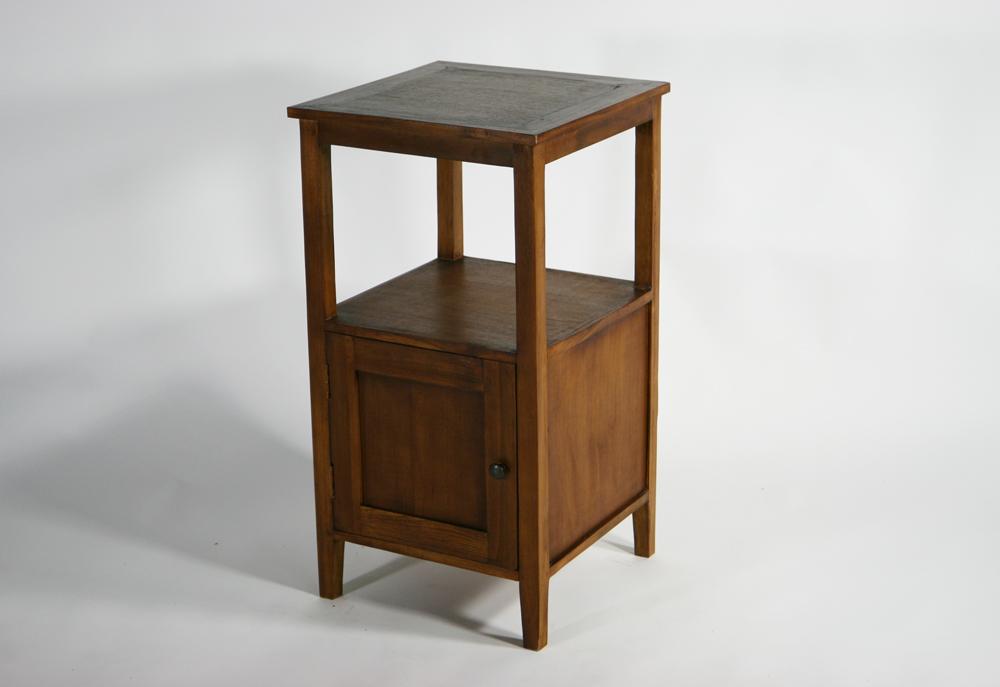 送料無料 新品 チーク無垢 サイドテーブル 電話台 チーク材 無垢材 チーク T-349-ブラウン