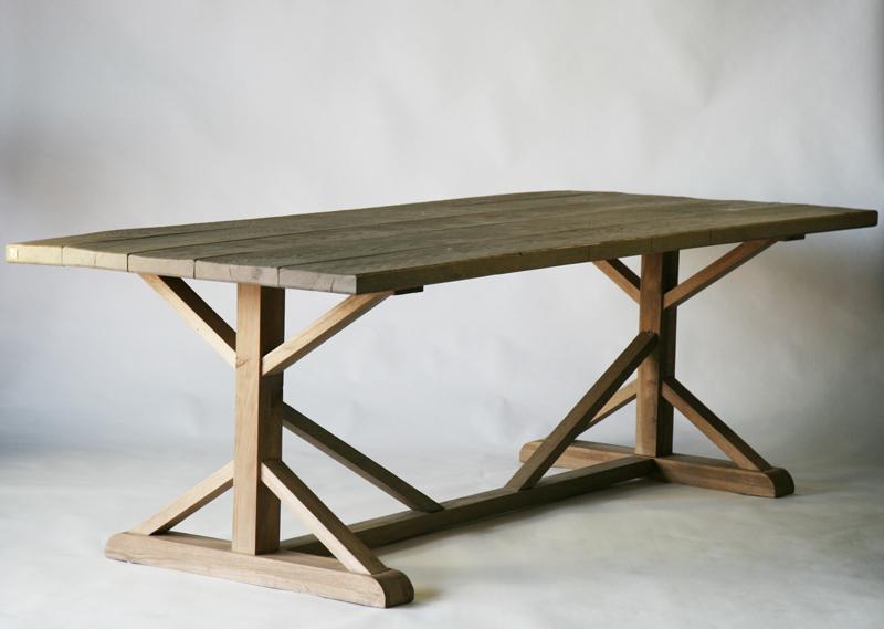 送料無料 新品 アンティーク調 オーク材 ダイニングテーブル grey