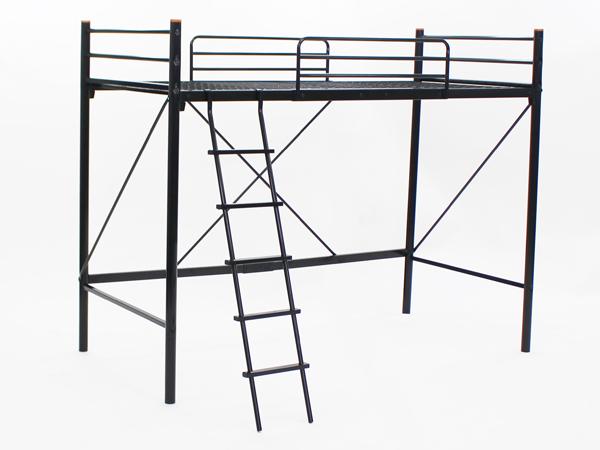 送料無料 新品 梯子付きロフトベッド はしご付き はしご 梯子 転落ガード 丈夫な極太パイプ パイプベッド パイプベット ロフトベッド ロフトベット スチールベッド BK