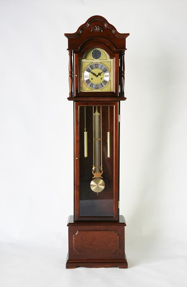 送料無料 新品 ホールクロック シナ材 完成品 柱時計 大型置き時計 置時計 振り子 機械式 手巻き式 ぜんまい ゼンマイ グランドファーザーズクロック フロアクロック フロア―クロック 0355