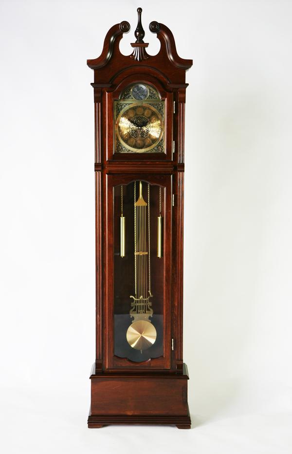 送料無料 新品 ホールクロック シナ材 完成品 柱時計 大型置き時計 置時計 振り子 機械式 手巻き式 ぜんまい ゼンマイ グランドファーザーズクロック フロアクロック フロア―クロック 0353-5