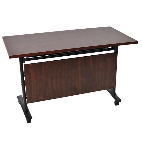 スタッキングテーブル 跳ね上げ式 幕板付 約W120×約D60×約H75.5 約W1200×約D600×約H755 キャスター付 棚付 会議テーブル スタックテーブル ストッパー付 長机 会議机 会議デスク フォールディングテーブル オフィステーブル 会議用 折り畳み 送料無料 deskt087120