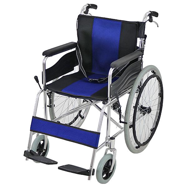 送料無料 車椅子 アルミ合金製 青 約12kg 背折れ 軽量 折り畳み 自走介助兼用 介助ブレーキ付き ノーパンクタイヤ 自走用車椅子 自走式車椅子 折りたたみ コンパクト 軽い 背折れ式 自走用 介助用 自走式 自走 介助 車椅子 車イス 車いす ブルー wheelchairs05blue