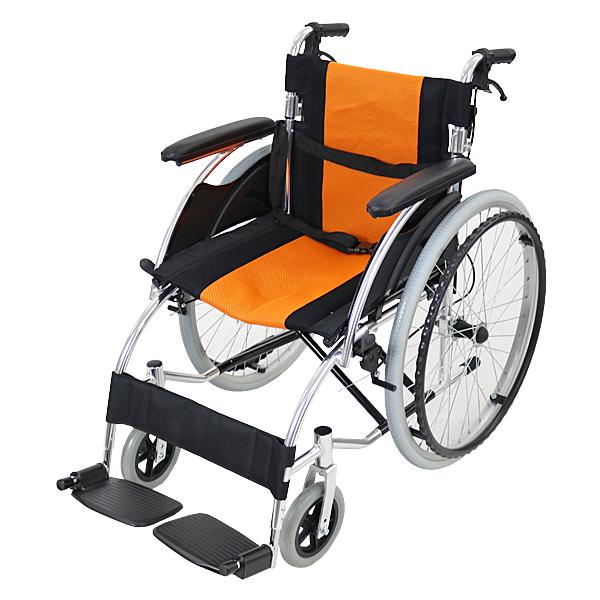 送料無料 車椅子 アルミ合金製 オレンジ 約13kg 軽量 折り畳み 自走介助兼用 介助ブレーキ付き(ロック機能搭載) ノーパンクタイヤ 自走用車椅子 自走式車椅子 折りたたみ コンパクト 自走用 介助用 自走式 自走 介助 車椅子 車イス 車いす wheelchairs07or