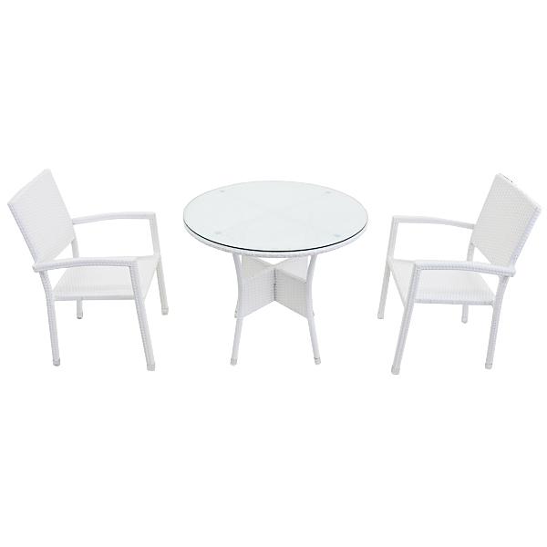 送料無料 ガーデンチェア ガーデン チェア ラタンチェア アルミガーデン セット ラタン テーブル ラタンテーブル 人工ラタンチェア2脚 丸テーブル1台 3点セット 強化ガラス ホワイト 籐 肘掛け付き 家具 ファニチャー インテリア 椅子 テラス 庭 白 rattan4559t3setwh