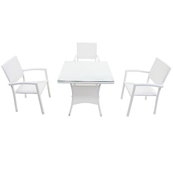送料無料 人工ラタンチェア3脚 四角テーブル1台 4点セット 強化ガラス ホワイト 籐 肘掛け付き 家具 ファニチャー インテリア スタッキングチェア リビング chair 椅子 南国 アジアン バリ風 リゾート ホテル ベランダ バルコニー 庭 ガーデン 白 rattan4565t4setwh