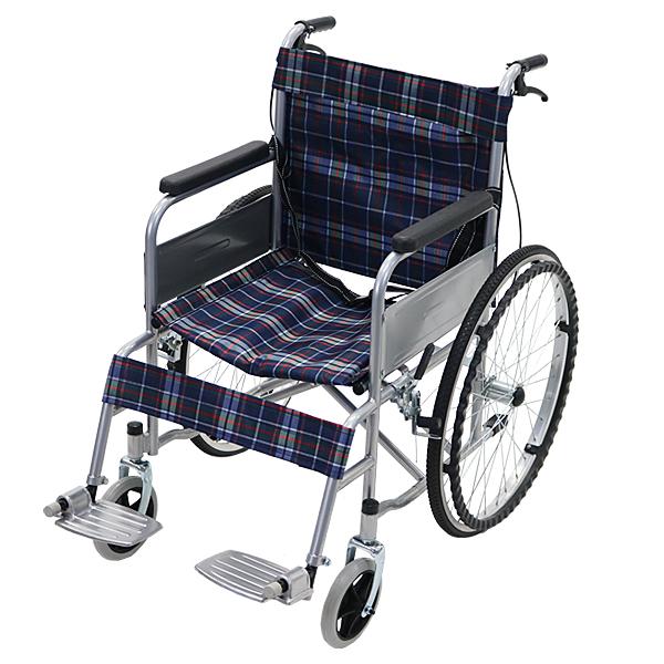 送料無料 車椅子 ブルーチェック 折り畳み 自走介助兼用 介助ブレーキ付き ノーパンクタイヤ 自走用車椅子 自走式車椅子 折りたたみ コンパクト 自走用 介助用 自走式 自走 介助 車椅子 車イス 車いす wheelchairs09blca