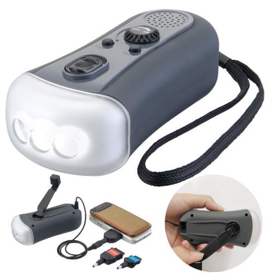 ダイナモ充電器FMラジオLEDライト 30個セット販売
