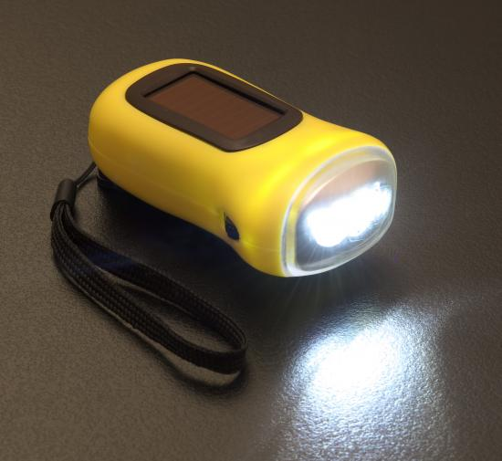 ソーラー&ダイナモLEDライト ソーラー充電・手回しの2通りが可能 約一時間のソーラー充電で約15分点滅します 50個セット販売