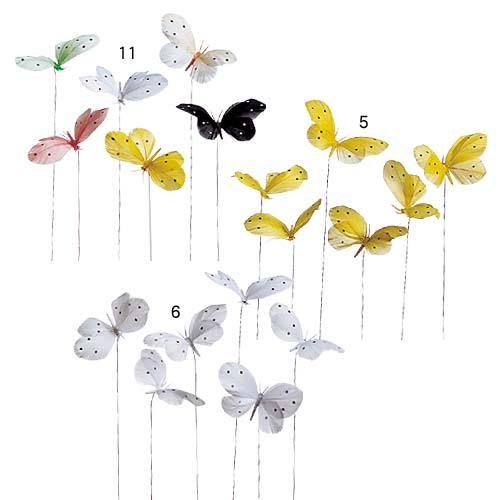 ウェディング装飾 ディスプレイ 蝶々 9cmバラフライワイヤー付き 24個入り