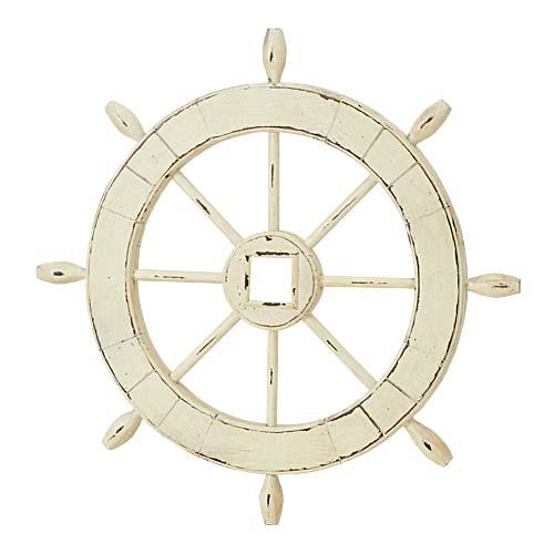 舵 ウッド製雑貨 オブジェ 60cmオールドウッドホワイトステアリング 【代引き不可商品】