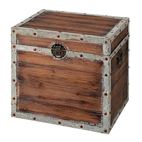 宝箱 トレジャーボックス ウッド製雑貨 オブジェ 50cmオールドウッドトレジャーボックス 開けて使えます