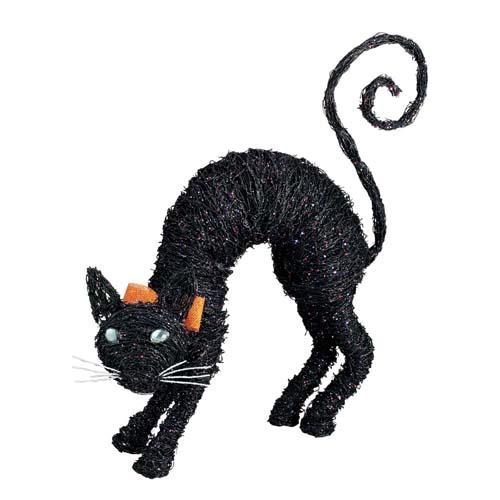 ハロウィン 装飾 70cmブラックキャット 黒猫 置物 細かな籐を編んで形作った、ブラック色に塗装したキャット