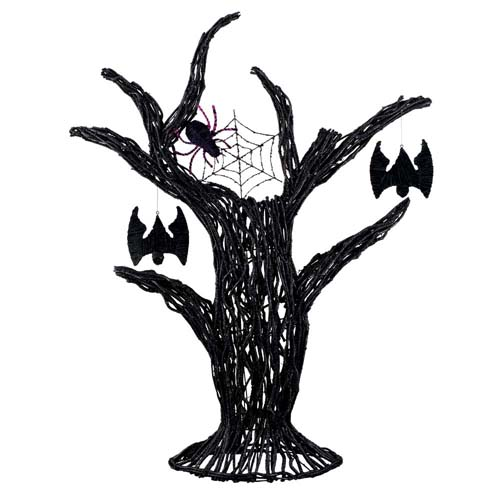 ハロウィン 装飾 こうもり 120cmブラックツリーウィズバット&スパイダー 籐を編んで形作った、ブラック色に塗装したツリー 代引き不可商品