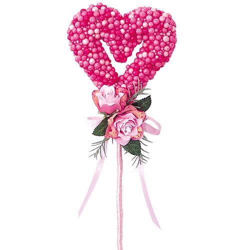 バレンタイン装飾 ハート ディスプレイ ローズハートピック 花束や贈り物にさして可愛く飾ろう 12個セット販売