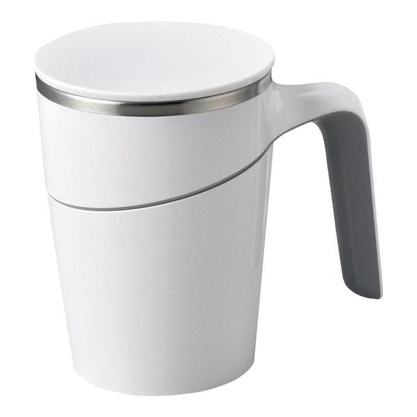 倒れないマグカップ 店内限界値引き中&セルフラッピング無料 ブランド品 プレゼントにも スタンドキープマグ ホワイト DH015W パソコン近くで使っても安心です フタ付きマグカップ しっかりと張り付く底面で斜めにしても倒れない