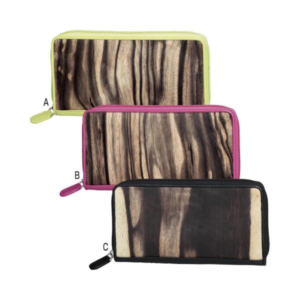 財布 長財布 黒柿 ラウンド財布(TG-026) 黒柿は約1300年前より貴人たちに愛された稀少で高貴な柿の木。黒柿材と上質な牛革で縫製しています 日本製