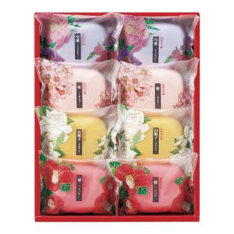 30個セット販売 彩花だより 和の花のうるおいと香りが楽しめる石鹸 ソープ70g×8(桜、椿、芍薬、山梔子各2)