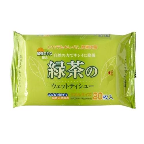 緑茶のウェットティシュ 10枚入 240個セット販売 消臭、除菌作用のある緑茶エキス配合 【代引き不可商品】※北海道・沖縄県・離島は別途送料お見積りとなります。ご了承下さい。
