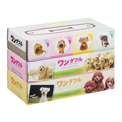 ボックスティッシュ 景品 犬 ワンダフルBOXティッシュ150W3個組 72個セット販売・代引決済不可