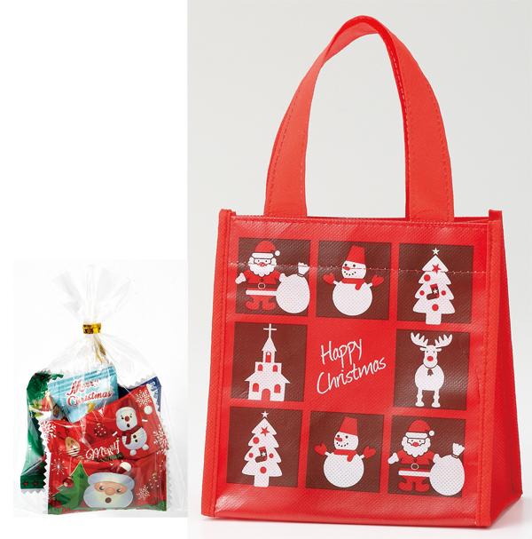 クリスマスノベルティ 景品 お菓子 クリスマスギフトバッグ(キャンディ5粒入り) 100個セット販売