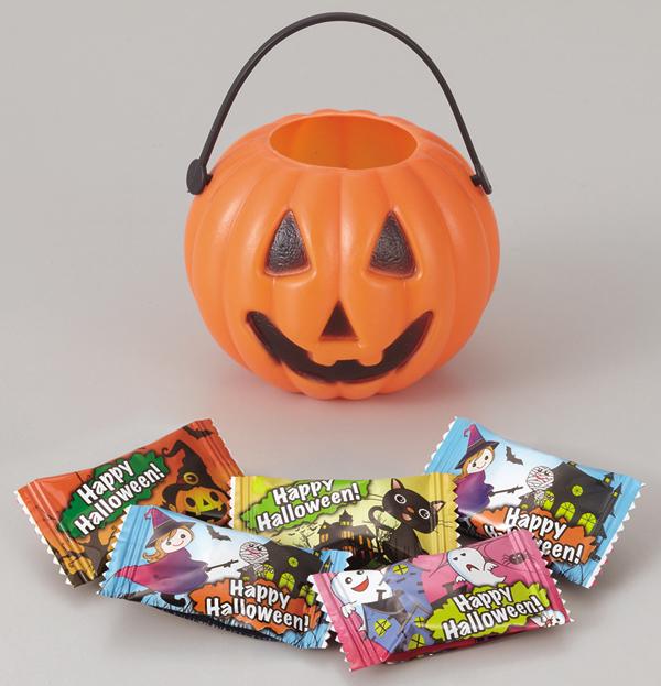 ハロウィン お菓子景品 ハロウィンポット(キャンディ5粒入り) 100個セット販売 【代引き不可商品】