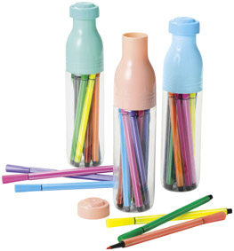 かわいいボトル型ケース 12色カラーペン ケース付カラーペン12色セット 180個セット販売