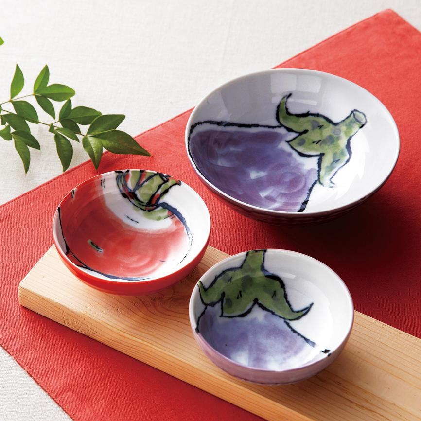 食器 日本製 やさい絵ボウル 大胆な構図がどこかユーモラス。素朴で味わい深いデザインが新鮮 72枚セット販売