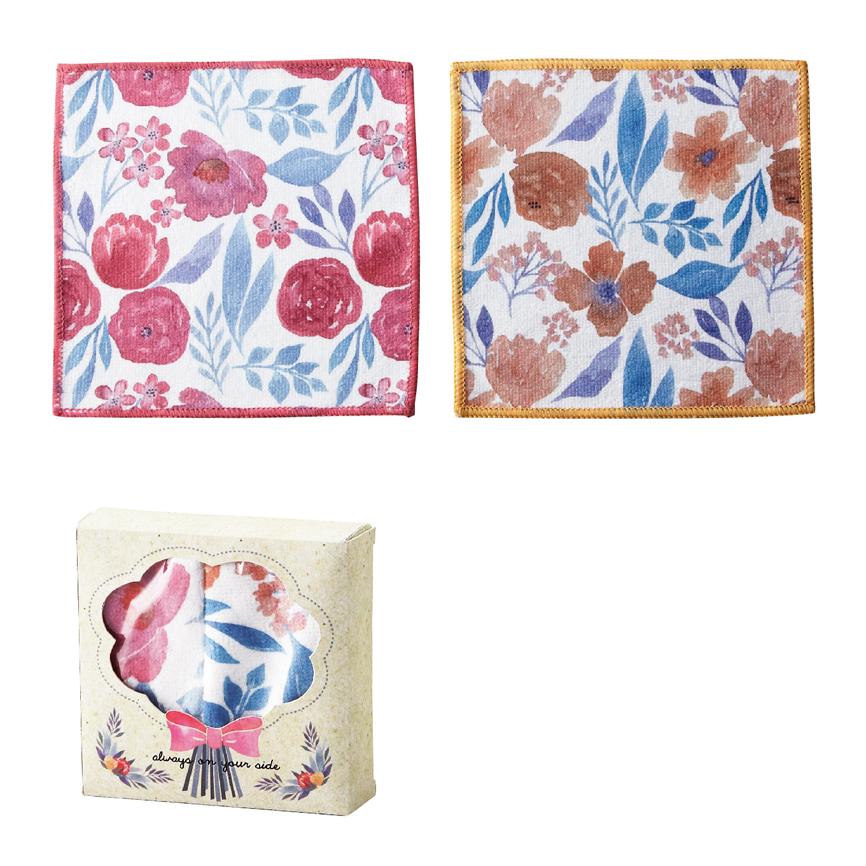 ふきん キッチンクロス ハンナ・マイクロファイバークロス2枚組 水彩画タッチのフラワー柄が華やか!サプライズ感のあるお洒落なBOX入り 150個セット販売