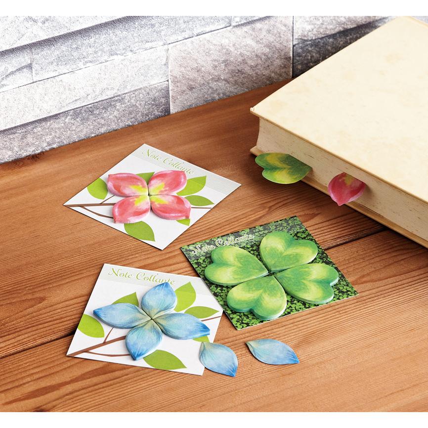 フラワー&グリーン付箋 貼るだけでやわらかな印象を与えるユニークな付箋。春の色どりを文房具からも 150個セット販売