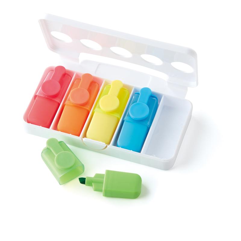 ケース入り蛍光マーカー5色セット デスクワークの必需品5色セット 白いケースで名入れ効果も期待大 100個セット販売