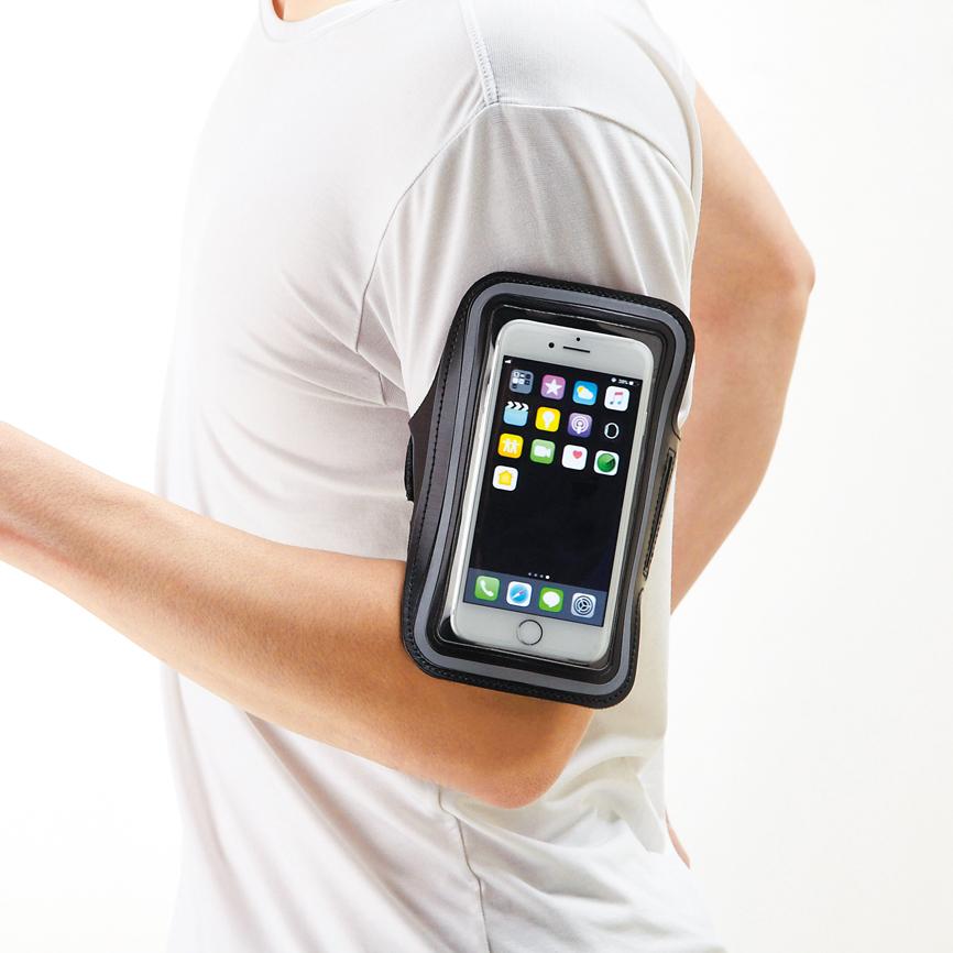 モバイルアームポーチ 透明部分からスマホ操作が可能な機能派ポーチ。散歩やジョギング時のスマホ携帯が快適に 60個セット販売