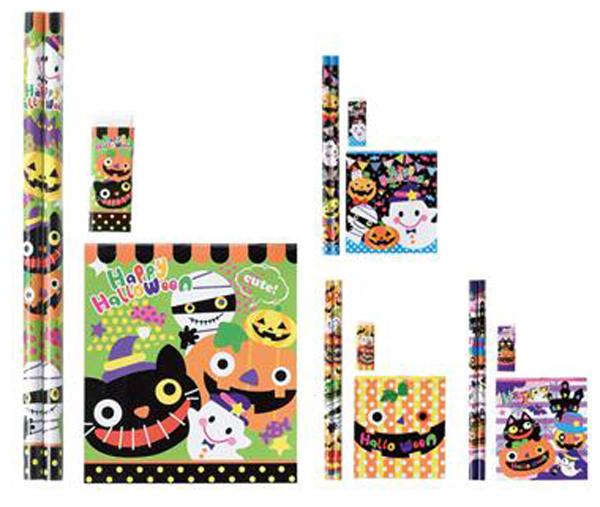 ハロウィン 景品 お菓子 ハロウィン文具4点セット 300個セット販売