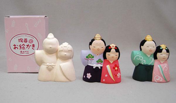 お絵かき 雛人形(陶器) 陶器でお絵かき ワークショップ・絵付け体験用にも人気 貯金箱 50個セット販売