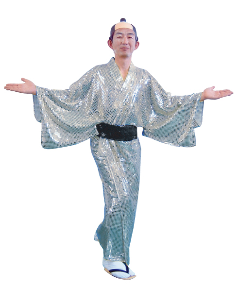 着物 キラキラ着流し シルバー 衣装 スパーク着流し マツケンサンバ コスチューム 宴会衣装