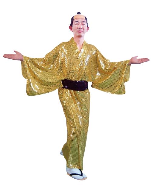 10/20日頃入荷予定 着物 キラキラ着流し ゴールド衣装 スパーク着流し マツケンサンバ コスチューム 宴会衣装