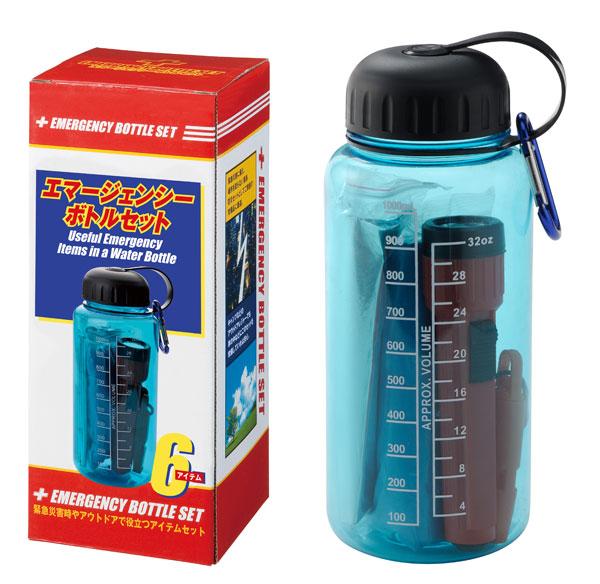 エマージェンシーボトルZA562 緊急災害時やアウトドアにて役立つ各アイテムをウォーターボトルにセット ●名入可能商品 36個セット販売
