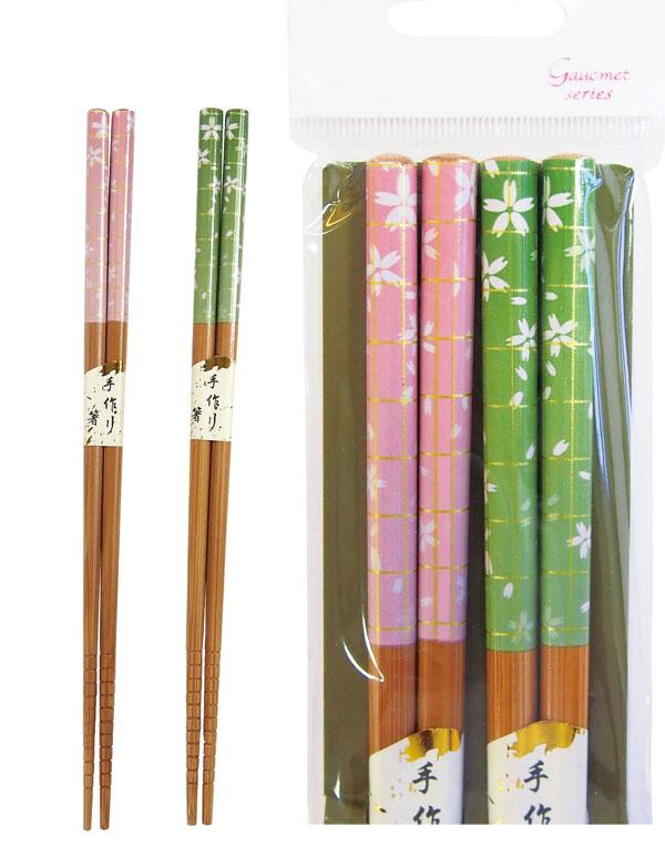 お箸の国ペア箸2膳(さくら吹雪) ち着いた和柄のお箸です。食べやすいすべり止め付き 200個セット販売