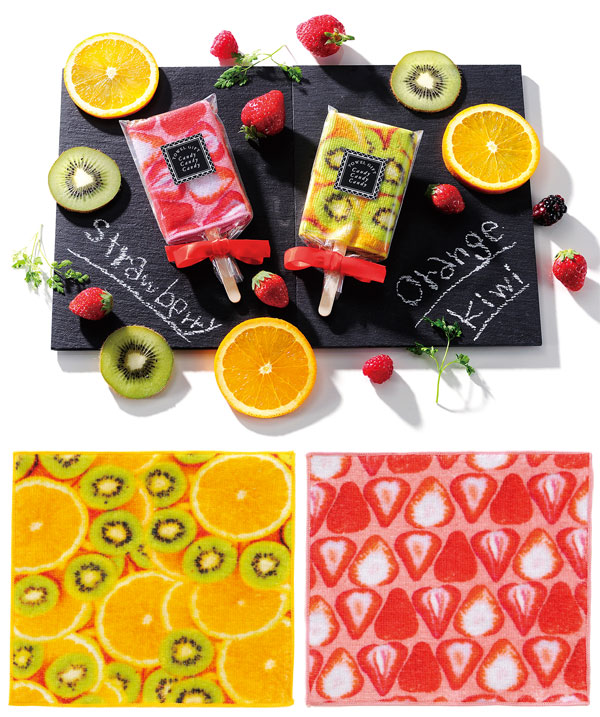 アイスキャンディータオル スイートなストロベリー柄とさわやかなオレンジ&キウイ柄 180枚セット販売