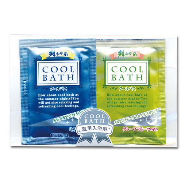 入浴剤 クールバス25g 2個組 リフレッシュミント、フレッシュグレープフルーツの2種類それぞれにメントールを配合 150個セット販売