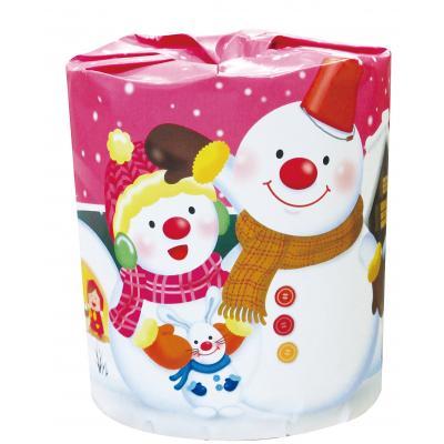 クリスマス 景品 日用品 ティッシュ 27.5m 雪だるま1ロールダブル 100個セット販売 まとめ売り 通信販売 メーカー再生品