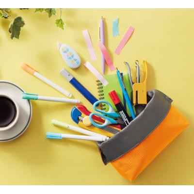 ペンスタンド 筆箱 クラッチペンコンテナ  口を折り返すと自立するペンケース ペン以外のステーショナリーもポンポン入れられる大容量 72個セット販売