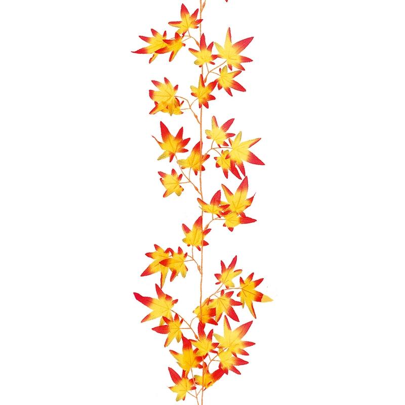 秋の紅葉装飾 もみじ 店舗装飾 シルク紅葉ガーランド オレンジ 180cm もみじ造花 ディスプレイ飾り 24個セット販売 店舗装飾品 商い 売り込み