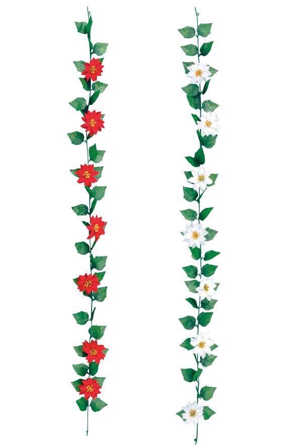 クリスマス 装飾 ミニポインセチアガーランド 24本セット販売