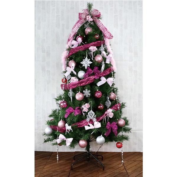 クリスマスツリー 180cm カナディアンツリーセットピンク 3分割【代引き不可商品】